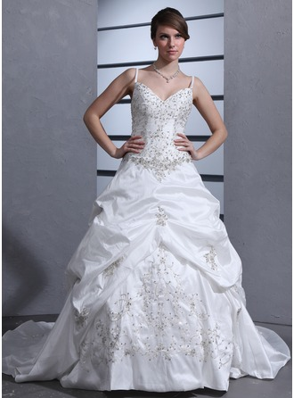 Ball-Gown Sweetheart Chapel Train Taffeta Wedding Dress With Embroidered Ruffle Beading Sequins