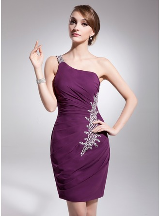 Sheath/Column One-Shoulder Knee-Length Chiffon Cocktail Dress With Ruffle Beading Sequins