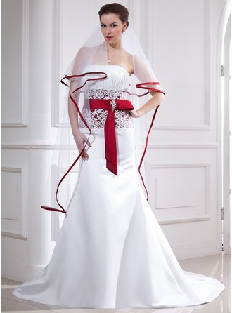 Trumpet/Mermaid Strapless Chapel Train Satin Wedding Dress With Lace Sash Crystal Brooch Bow(s)