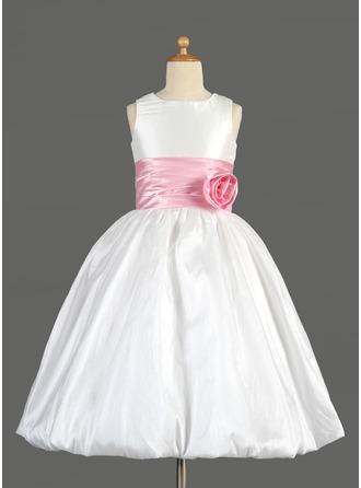 Empire Scoop Neck Tea-Length Taffeta Flower Girl Dress With Sash Flower(s) Bow(s)