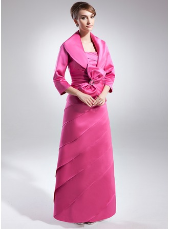 A-Line/Princess Strapless Floor-Length Satin Mother of the Bride Dress With Ruffle Bow(s)