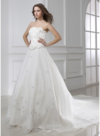 Ball-Gown Strapless Cathedral Train Satin Organza Wedding Dress With Embroidered Beading