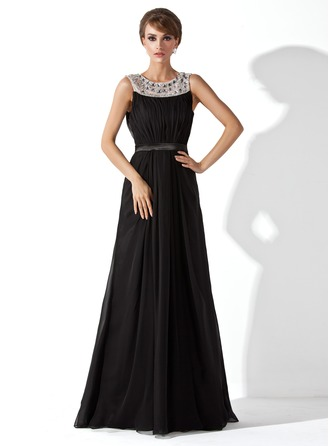 A-Line/Princess Scoop Neck Floor-Length Chiffon Tulle Charmeuse Evening Dress With Ruffle Beading