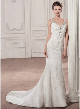 Trumpet/Mermaid V-neck Court Train Tulle Wedding Dress With Beading Appliques Lace Sequins