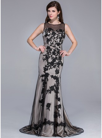 Trumpet/Mermaid Scoop Neck Sweep Train Tulle Charmeuse Evening Dress With Lace