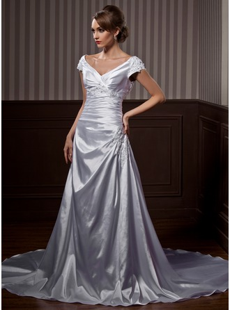 A-Line/Princess Off-the-Shoulder Court Train Charmeuse Wedding Dress With Ruffle Beading Appliques Lace