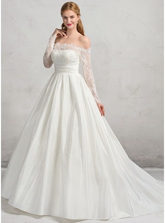 Ball-Gown Off-the-Shoulder Court Train Taffeta Lace Wedding Dress With Ruffle