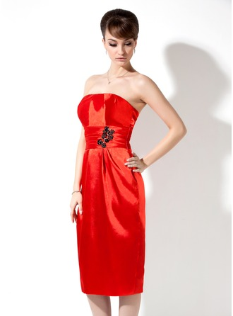 Sheath/Column Strapless Knee-Length Charmeuse Holiday Dress With Ruffle Beading