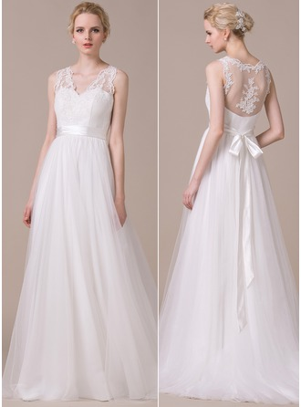 A-Line/Princess V-neck Sweep Train Tulle Charmeuse Wedding Dress With Appliques Lace Bow(s)