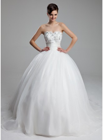 Ball-Gown Sweetheart Court Train Satin Organza Wedding Dress With Ruffle Lace Beading