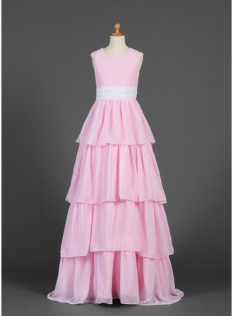 A-Line/Princess Scoop Neck Floor-Length Chiffon Junior Bridesmaid Dress With Sash