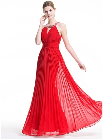 A-Line/Princess Scoop Neck Floor-Length Chiffon Evening Dress With Beading Sequins Pleated