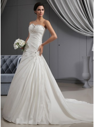 A-Line/Princess Sweetheart Cathedral Train Taffeta Wedding Dress With Ruffle Beading Appliques Lace
