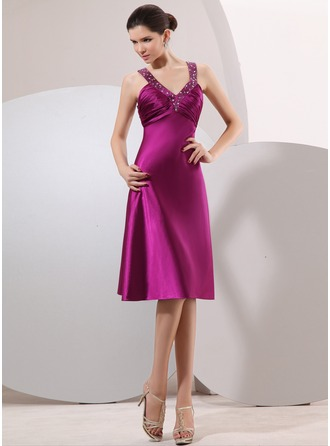Empire V-neck Knee-Length Charmeuse Cocktail Dress With Ruffle Beading