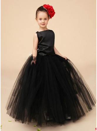 A-Line/Princess Square Neckline Floor-Length Charmeuse Tulle Flower Girl Dress With Lace Bow(s)