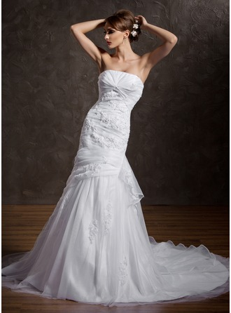 Trumpet/Mermaid Strapless Chapel Train Satin Organza Wedding Dress With Beading Appliques Lace Cascading Ruffles