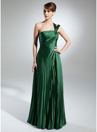 A-Line/Princess One-Shoulder Floor-Length Charmeuse Mother of the Bride Dress With Pleated
