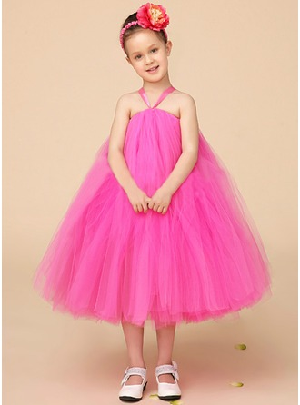 Empire Halter Tea-Length Tulle Flower Girl Dress With Bow(s)
