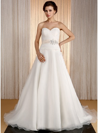 A-Line/Princess Sweetheart Court Train Organza Wedding Dress With Sash Beading