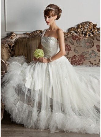 A-Line/Princess One-Shoulder Court Train Tulle Wedding Dress With Ruffle Beading Feather