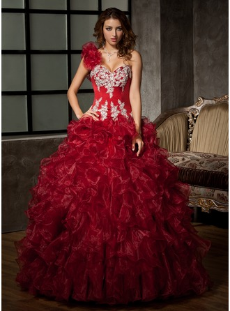 Ball-Gown One-Shoulder Floor-Length Organza Satin Quinceanera Dress With Beading Appliques Sequins Cascading Ruffles