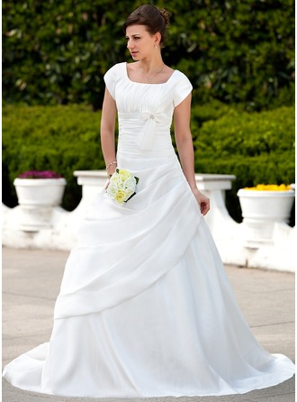 A-Line/Princess Square Neckline Court Train Taffeta Wedding Dress With Ruffle Beading Bow(s)