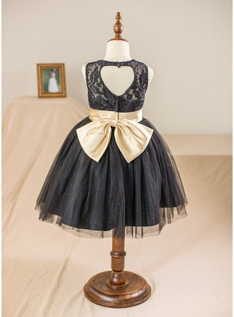Ball Gown Knee-length Flower Girl Dress - Satin/Tulle/Lace Sleeveless Scoop Neck With Sash/Back Hole