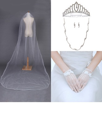 Fancy Alloy/Rhinestones/Tulle Ladies' Accessory Sets (Including Veil,Headpiece,Necklace,Earring,Glove)