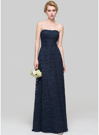 A-Line/Princess Strapless Floor-Length Lace Bridesmaid Dress