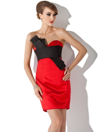 Sheath/Column Sweetheart Short/Mini Satin Cocktail Dress With Sash