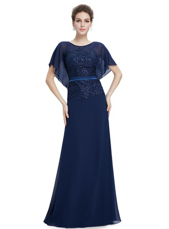 Polyester/Lace/Silk Blend mit Lace/wulstige/Applikationen Maxi Kleid