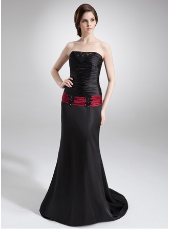 Trumpet/Mermaid Strapless Court Train Charmeuse Mother of the Bride Dress With Lace Sash Beading