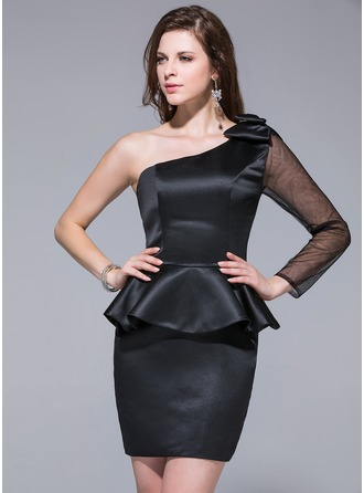 Sheath/Column One-Shoulder Short/Mini Satin Cocktail Dress With Bow(s) Cascading Ruffles