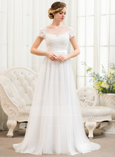 A-Line/Princess Scoop Neck Sweep Train Tulle Lace Wedding Dress With ...