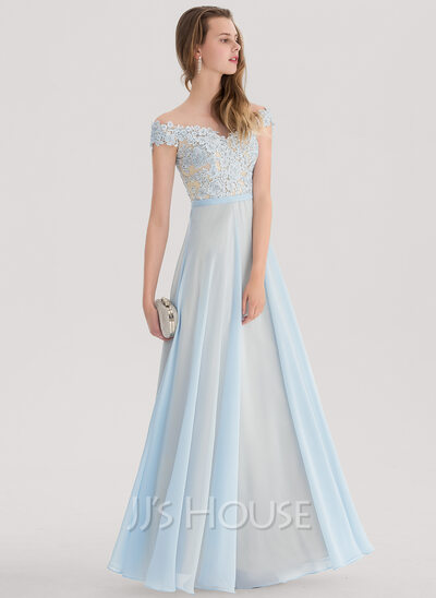 A-Line/Princess Off-the-Shoulder Floor-Length Chiffon Prom Dresses ...