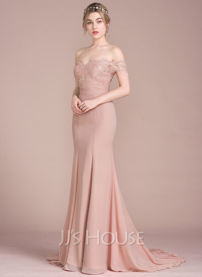 Trumpet Mermaid Off The Shoulder Court Train Chiffon Lace Prom Dresses With Beading