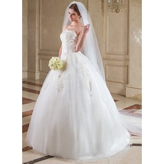 Two-tier Cathedral Bridal Veils With Cut Edge