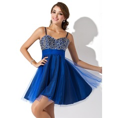 Empire Sweetheart Short/Mini Tulle Homecoming Dress With Beading Sequins