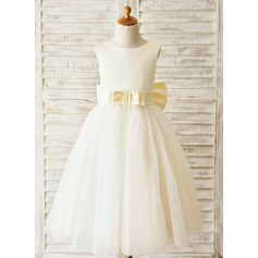 Ball Gown Tea-length Flower Girl Dress - Satin/Tulle Sleeveless Scoop Neck With Sash/Bow(s)/V Back