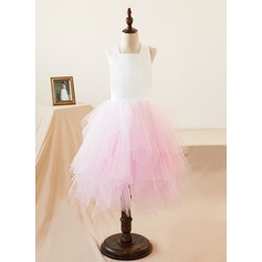 A-Line/Princess Flower Girl Dress - Organza Sleeveless Halter/Square Neckline