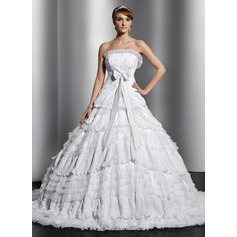 Ball-Gown Strapless Chapel Train Tulle Lace Wedding Dress With Beading Bow(s) Pleated