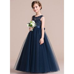 A-Line/Princess Floor-length Flower Girl Dress - Satin/Tulle/Lace Sleeveless Scoop Neck With Sash (010106124)