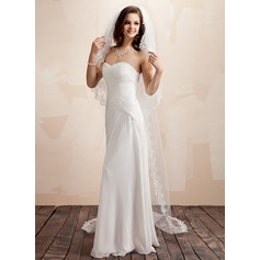 Four-tier Chapel Bridal Veils With Lace Applique Edge