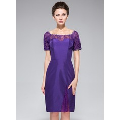Sheath/Column Off-the-Shoulder Knee-Length Taffeta Lace Cocktail Dress With Beading Sequins