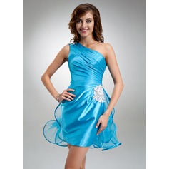 Sheath/Column One-Shoulder Short/Mini Charmeuse Homecoming Dress With Beading Appliques Lace Cascading Ruffles