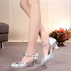 Women's Sparkling Glitter Heels Pumps Modern With T-Strap Dance Shoes