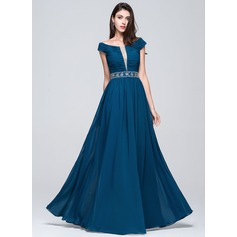 A-Line/Princess Off-the-Shoulder Floor-Length Chiffon Prom Dress With Ruffle Beading Sequins