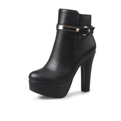 Women's Leatherette Chunky Heel Platform Ankle Boots With Buckle Zipper shoes