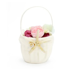 Lovely Flower Basket in Satin With Starfish and Seashell