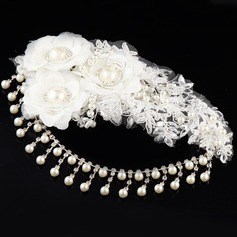 Elegant Imitation Pearls/Lace Forehead Jewelry/Flowers & Feathers